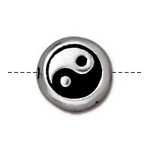 TierraCast Yin Yang Bead, Antique Silver