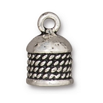 TierraCast 8mm Rope Cord End, Antique Silver Plate