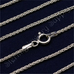 24 Inch Sterling Silver 1.5mm Wheat Spiga Chain
