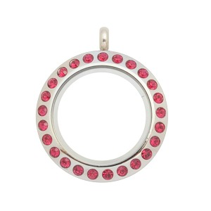 20mm Ruby Crystal Twist Stainless Steel Floating Locket
