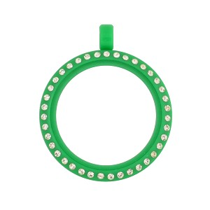 30mm Green Acrylic Floating Locket with Crystals and Matching Metal Ball Chain