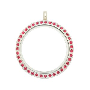 30mm Fuchsia Crystal Magnetic Stainless Steel Floating Locket