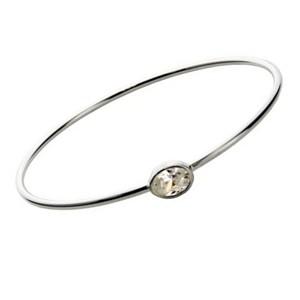 Sterling Silver Bangle Bracelet With Cz Bezel Set Stone