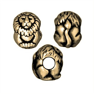 TierraCast Lion Large Hole Bead, Brass Ox