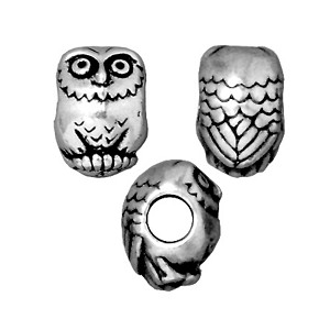TierraCast Owl Large Hole Bead, Antique Silver