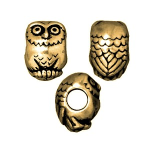 TierraCast Owl Large Hole Bead, Brass Ox