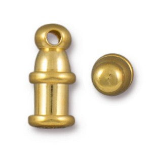 TierraCast 2mm Pagoda Cord Ends, Bright Gold Plated Brass, Package of 2