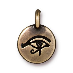 TierraCast Eye of Horus Charm, Brass Ox