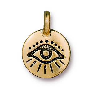 TierraCast Evil Eye Charm, Antique Gold