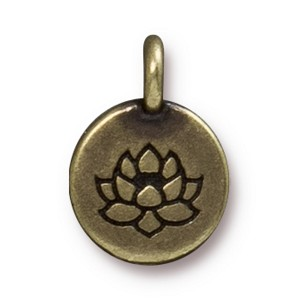 TierraCast Lotus Charm, Brass Ox