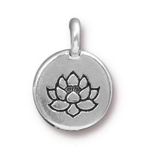 TierraCast Lotus Charm, Antique Silver