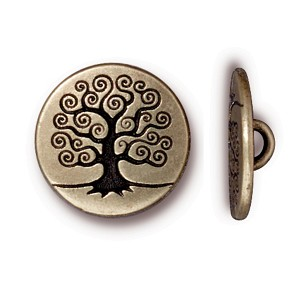 TierraCast Tree of Life Button, Brass Ox