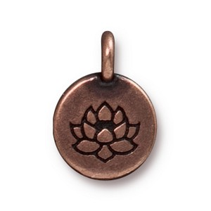 TierraCast Lotus Charm, Antiqued Copper