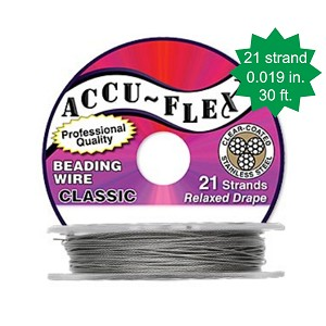 Beading Wire, AccuFlex Clear over Stainless 21 Strand, 0.019 Inch, 30 ft.