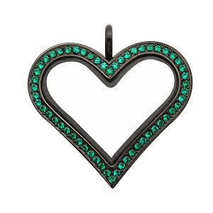 Sharp Heart Black Stainless Steel Floating Locket with Emerald Crystals