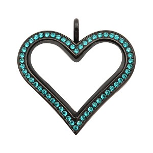 Sharp Heart Black Stainless Steel Floating Locket with Turquoise Crystals
