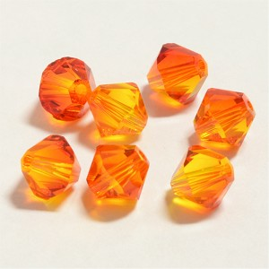 Fire Opal 6mm Swarovski Xilion Bicone, Pkg. of 12
