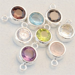 Large Round Gemstone in Sterling Silver Bezel