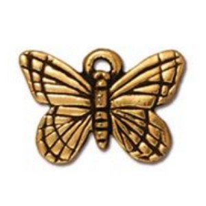 TierraCast Monarch Butterfly Charm, Antique Gold