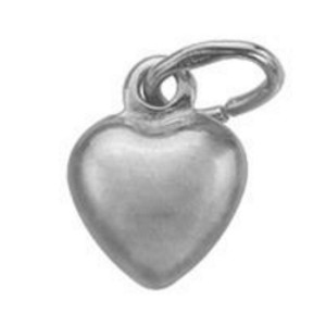 Sterling Silver Satin Finish Puffy Heart Charm
