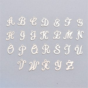 Medium Sterling Silver Script Alphabet Charm