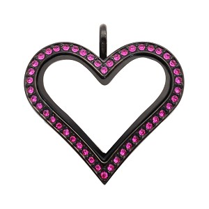 Sharp Heart Black Stainless Steel Floating Locket with Ruby Crystals