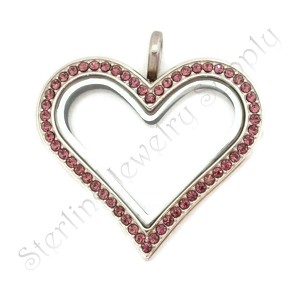 Sharp Heart Stainless Steel Floating Locket with Amethyst Crystals
