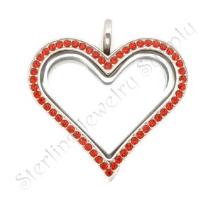 Sharp Heart  Stainless Steel Floating Locket with Red Crystals