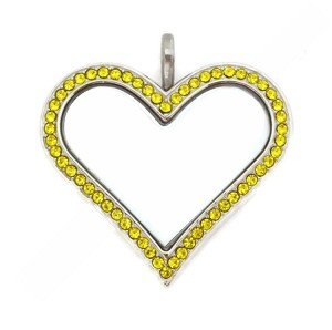 Sharp Heart  Stainless Steel Floating Locket with Citrine Crystals