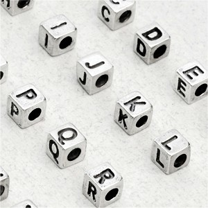 Small Sterling Silver Cube Alphabet Bead