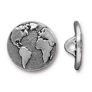 TierraCast Earth Button, Antique Silver