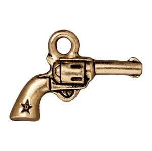 TierraCast Gun Charm, Antique Gold Plated Lead-Free Pewter