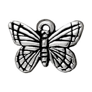 TierraCast Monarch Butterfly Charm, Antique Silver