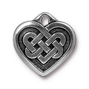 TierraCast Small Celtic Heart Charm, Antique Silver