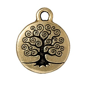 TierraCast Tree of Life Drop, Double-Sided Antique Gold