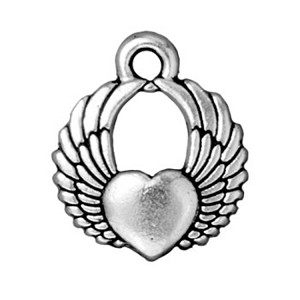 TierraCast Winged Heart Charm, Antique Silver