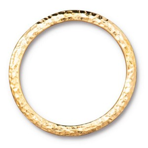 TierraCast 1.25 Inch Hammertone Ring, Bright Gold Plate