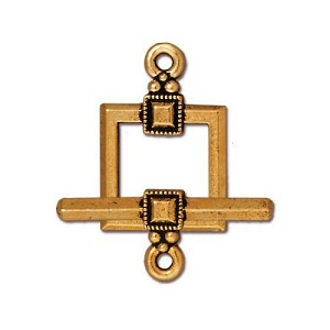 TierraCast Deco Square Toggle Clasp, Antique Gold