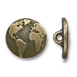 TierraCast Earth Button, Brass Ox