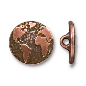 TierraCast Earth Button, Antiqued Copper