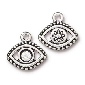 TierraCast Evil Eye Charm Empty for SS20 Crystal Flatback, Antique Silver