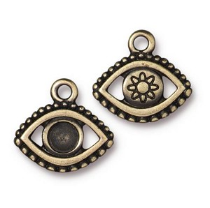 TierraCast Evil Eye Charm Empty for SS20 Crystal Flatback, Brass Ox