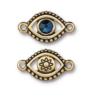 TierraCast Evil Eye Link with Swarovski Metallic Blue SS20 Crystal, Antique Gold