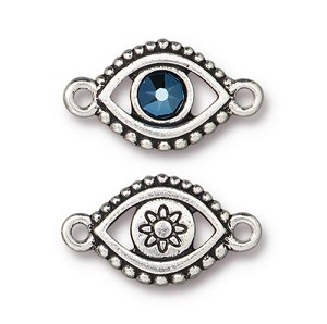 TierraCast Evil Eye Link with Swarovski Metallic Blue SS20 Crystal, Antique Silver