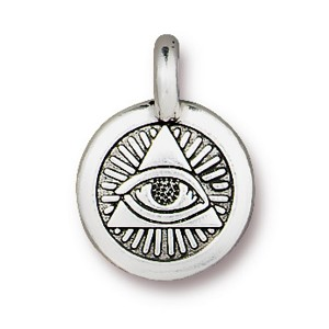 TierraCast Eye of Providence Charm, Antique Silver
