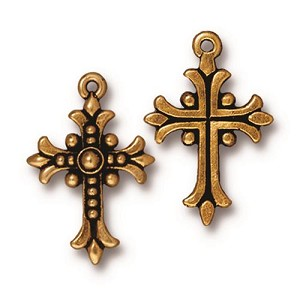 TierraCast Fleur Cross Pendant, Antique Gold-Plated Lead-Free Pewter