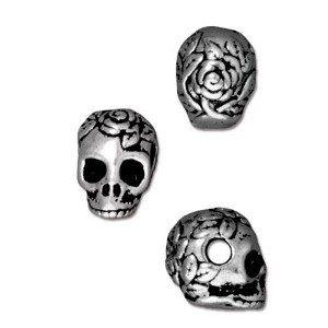 TierraCast Large Hole Rose Skull Bead, Antique Silver
