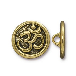 TierraCast Om Button, Antiqued Gold