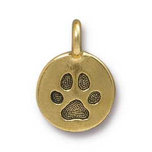 TierraCast Paw Print Charm, Antique Gold