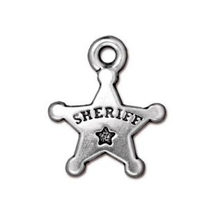 TierraCast Sheriff's Badge Drop, Antique Silver